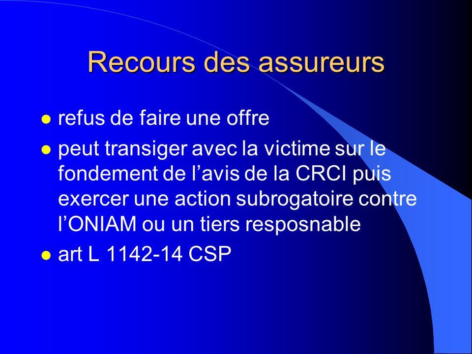 Recours des assureurs l refus de faire une offre l peut transiger avec la victime sur le fondement de lavis de la CRCI puis exercer une action subroga
