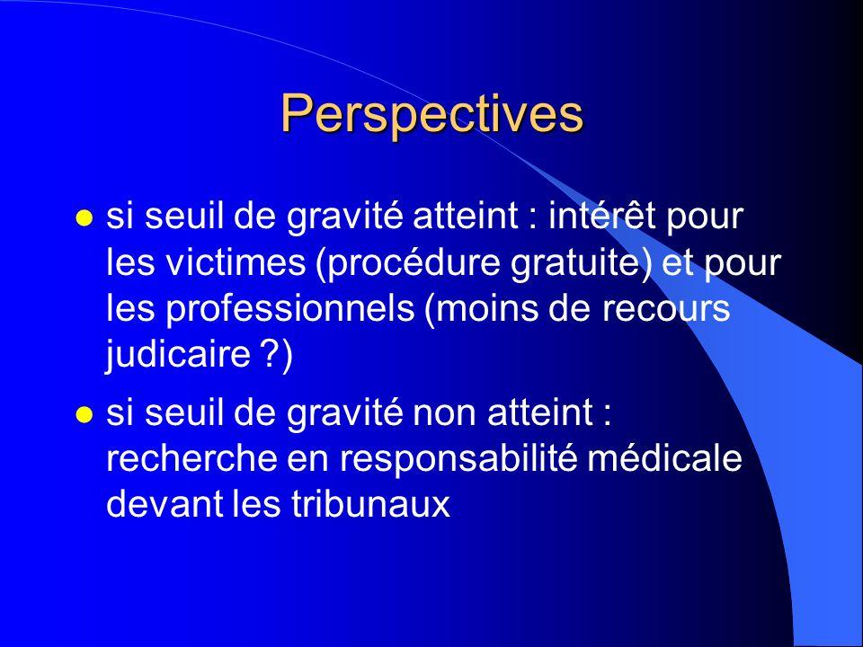 Perspectives l si seuil de gravité atteint : intérêt pour les victimes (procédure gratuite) et pour les professionnels (moins de recours judicaire ?)