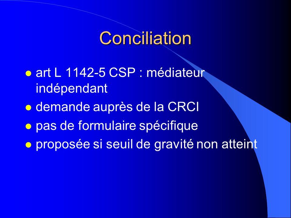 Conciliation l art L 1142-5 CSP : médiateur indépendant l demande auprès de la CRCI l pas de formulaire spécifique l proposée si seuil de gravité non