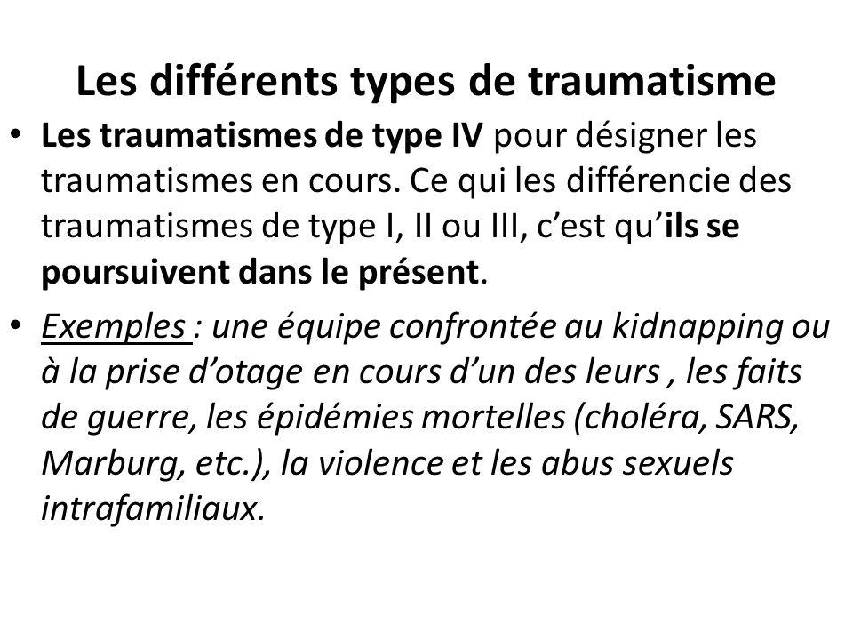 Les traumatismes simples et complexes Les traumatismes simples : Les traumatismes simples peuvent être définis comme des traumatismes de type I les traumatismes complexes comme le résultat dune victimisation chronique dassujettissement à une personne ou à un groupe de personnes.