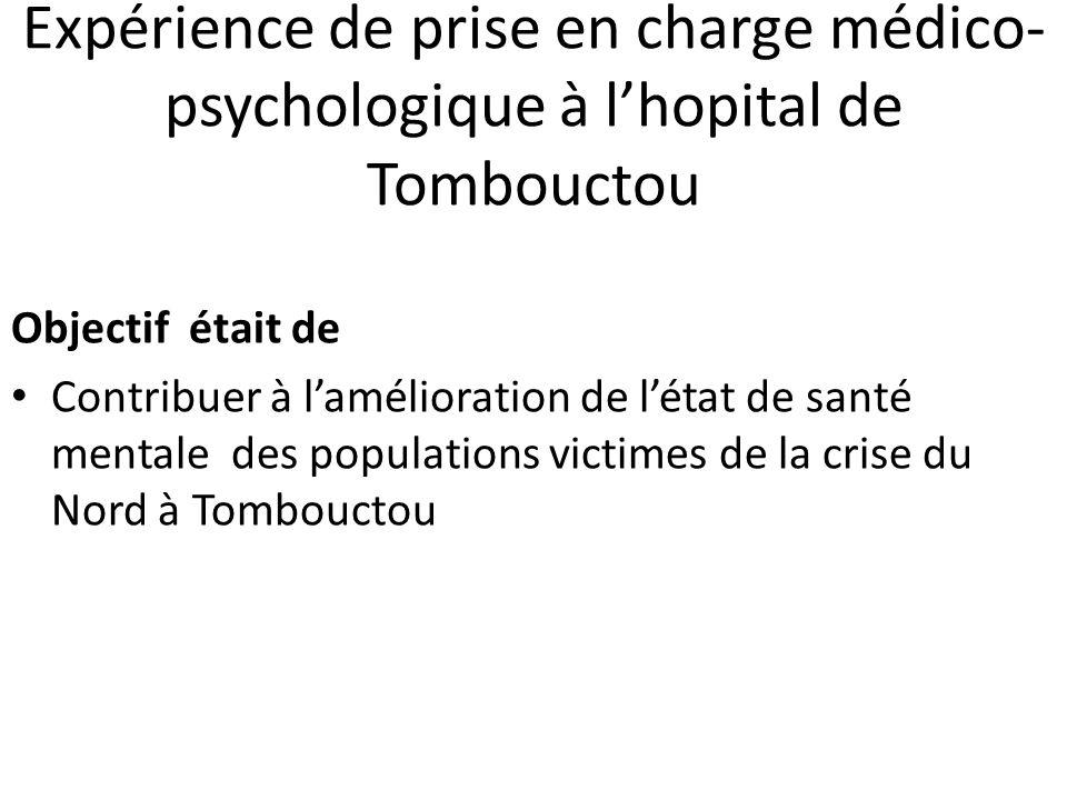 Résultats Ainsi durant le séjour environ 48 consultations psychologiques ont été réalisées dont 37 nouvelles consultations reparties comme suit : -19 cas de psychotraumatismes, -4 cas de violences sexuelles, - 5 cas de troubles psychiques avérés et - 9 cas de détresse psychologique (voir Tab.
