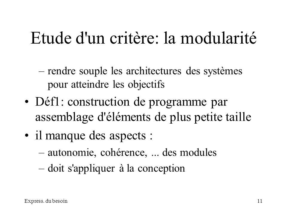Express. du besoin11 Etude d'un critère: la modularité –rendre souple les architectures des systèmes pour atteindre les objectifs Déf1: construction d