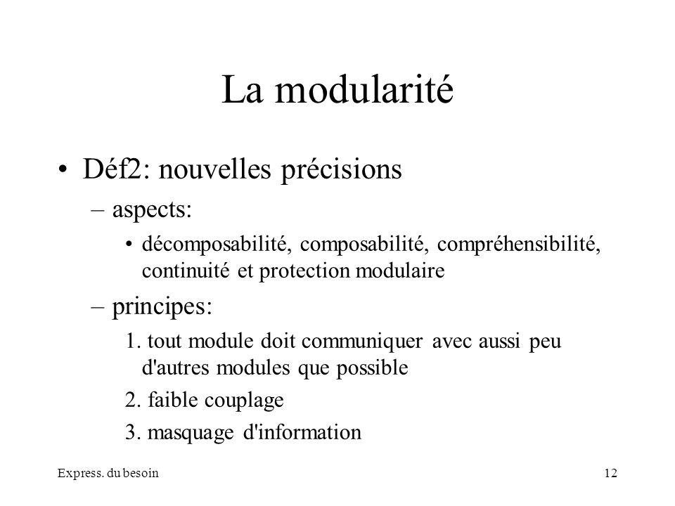 Express. du besoin12 La modularité Déf2: nouvelles précisions –aspects: décomposabilité, composabilité, compréhensibilité, continuité et protection mo