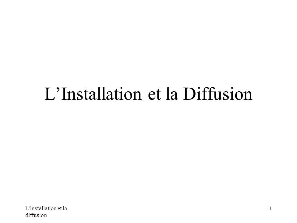 L installation et la diffusion 1 LInstallation et la Diffusion