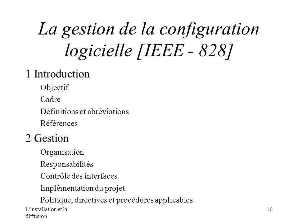 L installation et la diffusion 10 La gestion de la configuration logicielle [IEEE - 828] 1 Introduction Objectif Cadre Définitions et abréviations Références 2 Gestion Organisation Responsabilités Contrôle des interfaces Implémentation du projet Politique, directives et procédures applicables