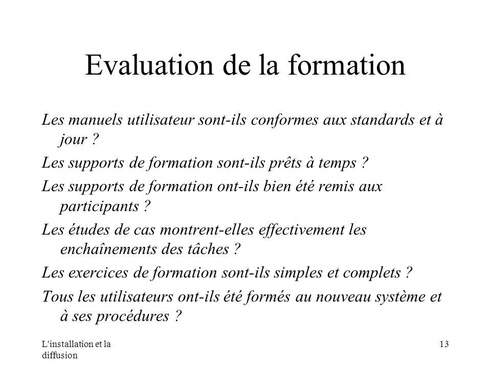 L installation et la diffusion 13 Evaluation de la formation Les manuels utilisateur sont-ils conformes aux standards et à jour .