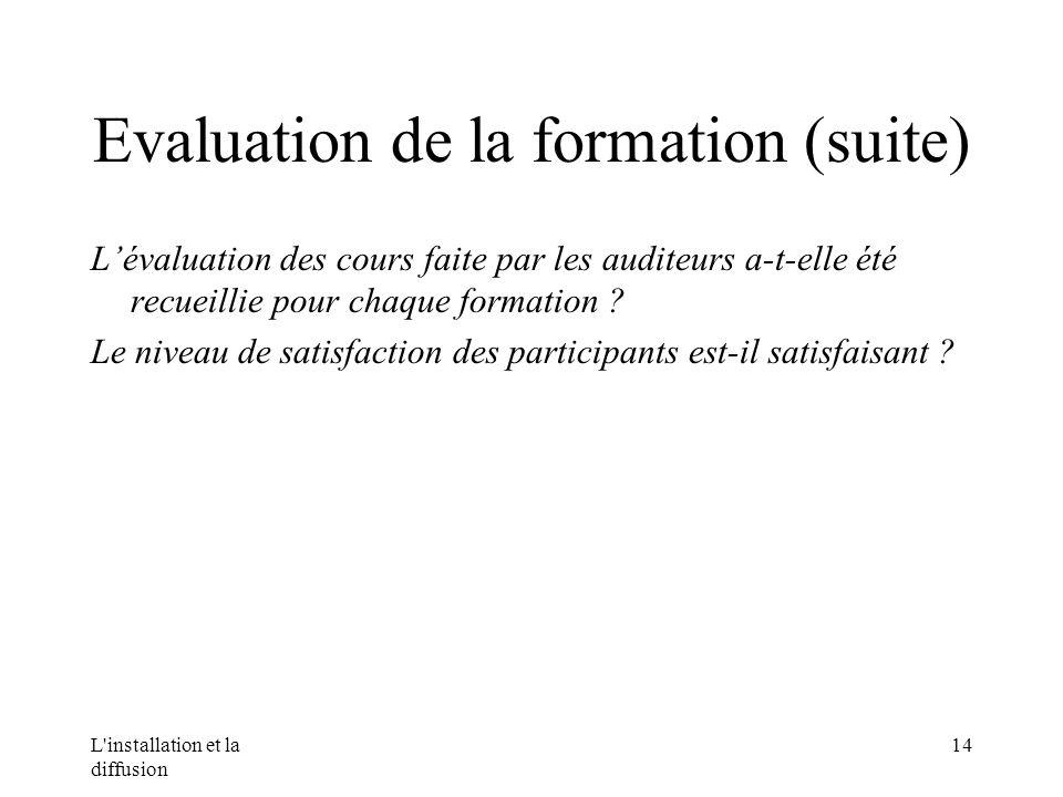 L installation et la diffusion 14 Evaluation de la formation (suite) Lévaluation des cours faite par les auditeurs a-t-elle été recueillie pour chaque formation .