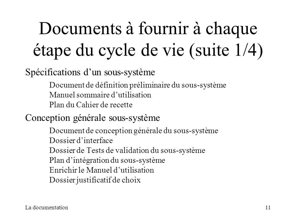 La documentation11 Documents à fournir à chaque étape du cycle de vie (suite 1/4) Spécifications dun sous-système Document de définition préliminaire
