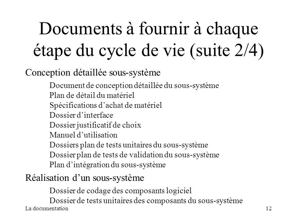 La documentation12 Documents à fournir à chaque étape du cycle de vie (suite 2/4) Conception détaillée sous-système Document de conception détaillée d