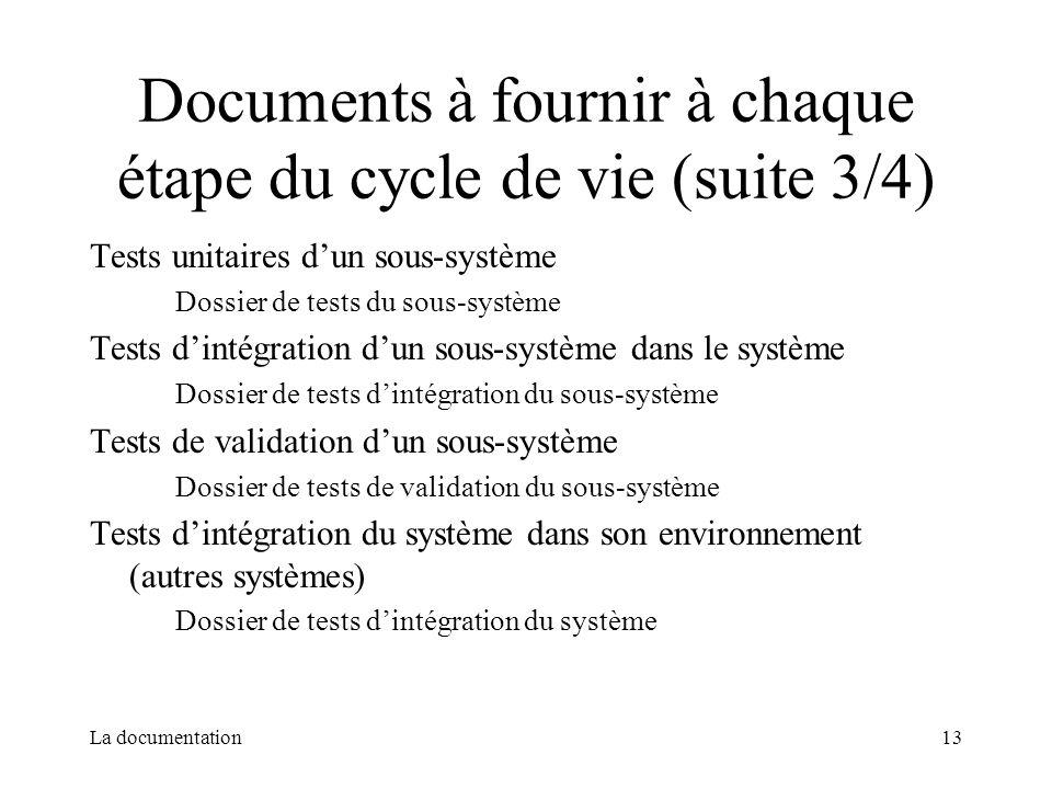 La documentation13 Documents à fournir à chaque étape du cycle de vie (suite 3/4) Tests unitaires dun sous-système Dossier de tests du sous-système Te