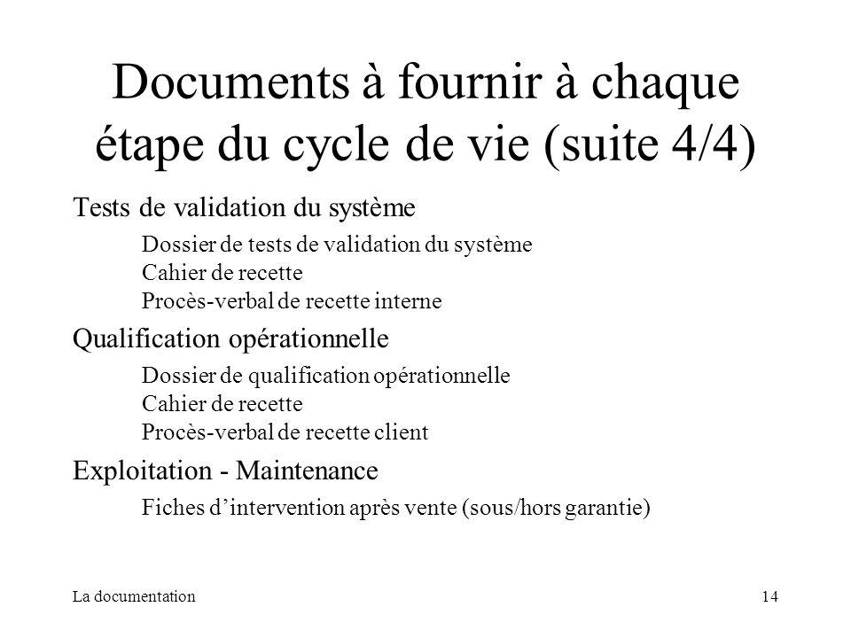 La documentation14 Documents à fournir à chaque étape du cycle de vie (suite 4/4) Tests de validation du système Dossier de tests de validation du sys