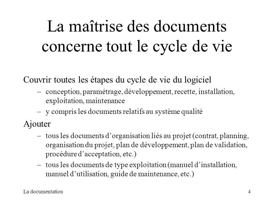 La documentation4 La maîtrise des documents concerne tout le cycle de vie Couvrir toutes les étapes du cycle de vie du logiciel –conception, paramétra