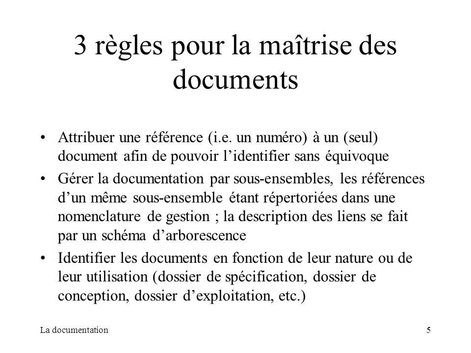 La documentation5 3 règles pour la maîtrise des documents Attribuer une référence (i.e. un numéro) à un (seul) document afin de pouvoir lidentifier sa
