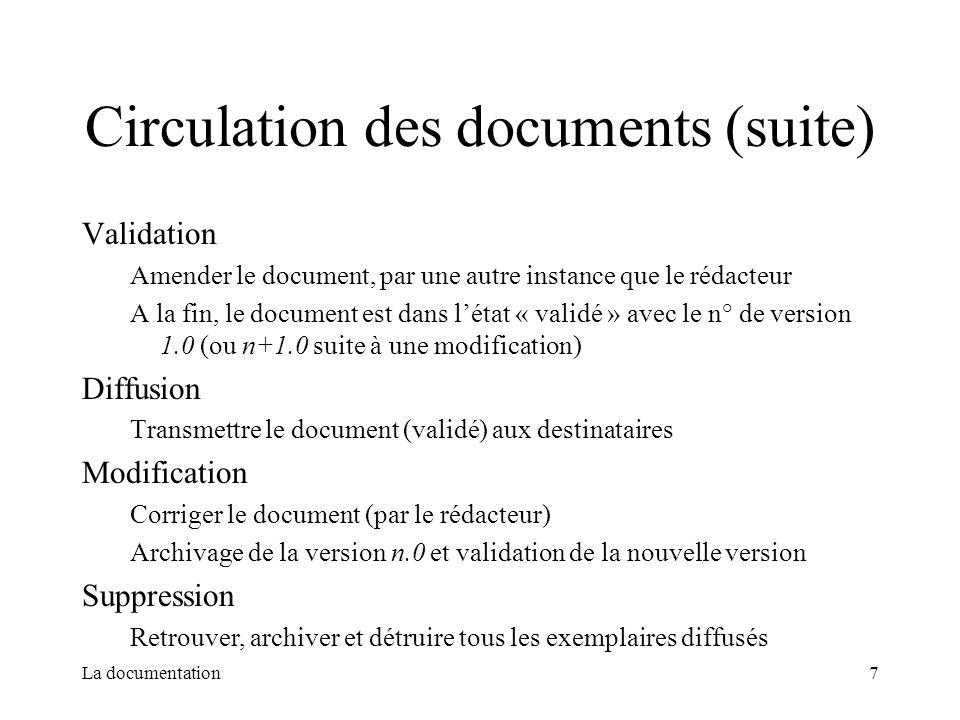 La documentation7 Circulation des documents (suite) Validation Amender le document, par une autre instance que le rédacteur A la fin, le document est