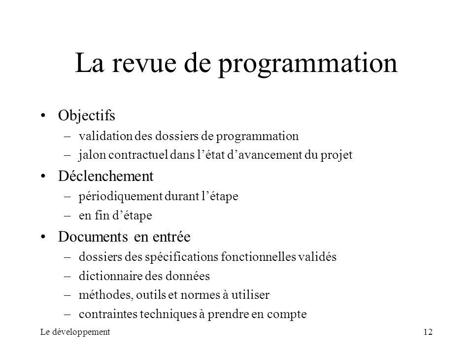 Le développement12 La revue de programmation Objectifs –validation des dossiers de programmation –jalon contractuel dans létat davancement du projet D