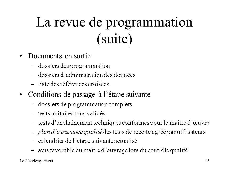 Le développement13 La revue de programmation (suite) Documents en sortie –dossiers des programmation –dossiers dadministration des données –liste des