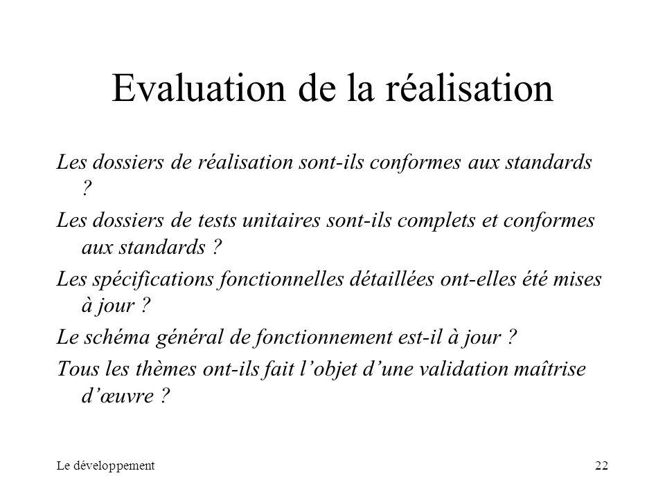 Le développement22 Evaluation de la réalisation Les dossiers de réalisation sont-ils conformes aux standards ? Les dossiers de tests unitaires sont-il