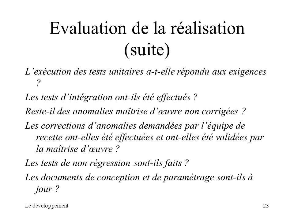Le développement23 Evaluation de la réalisation (suite) Lexécution des tests unitaires a-t-elle répondu aux exigences ? Les tests dintégration ont-ils