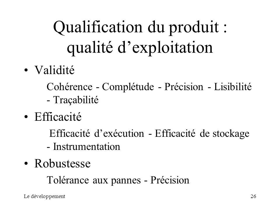 Le développement26 Qualification du produit : qualité dexploitation Validité Cohérence - Complétude - Précision - Lisibilité - Traçabilité Efficacité