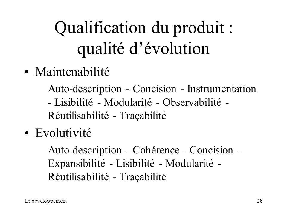 Le développement28 Qualification du produit : qualité dévolution Maintenabilité Auto-description - Concision - Instrumentation - Lisibilité - Modulari