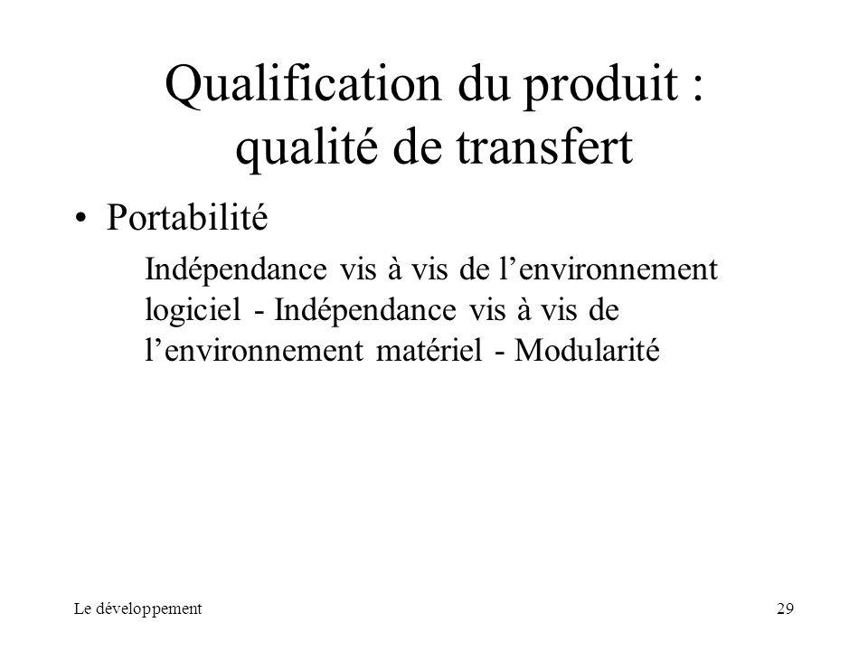 Le développement29 Qualification du produit : qualité de transfert Portabilité Indépendance vis à vis de lenvironnement logiciel - Indépendance vis à