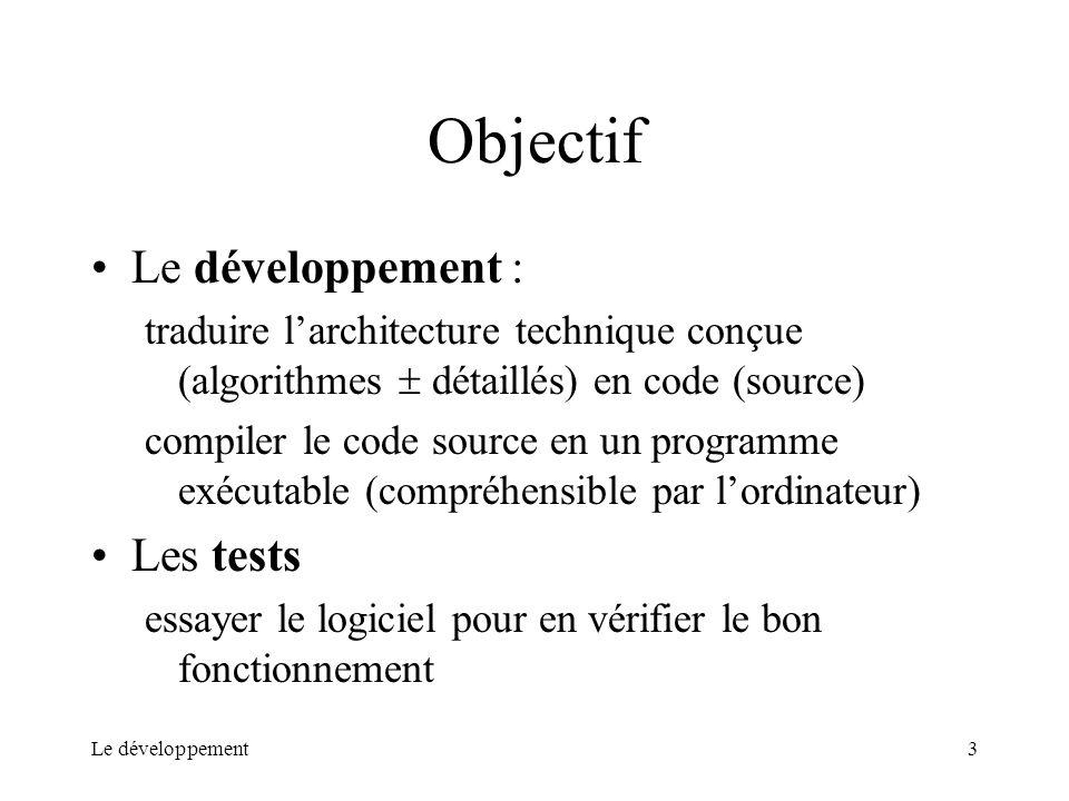 Le développement3 Objectif Le développement : traduire larchitecture technique conçue (algorithmes détaillés) en code (source) compiler le code source