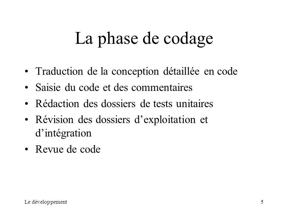 Le développement5 La phase de codage Traduction de la conception détaillée en code Saisie du code et des commentaires Rédaction des dossiers de tests