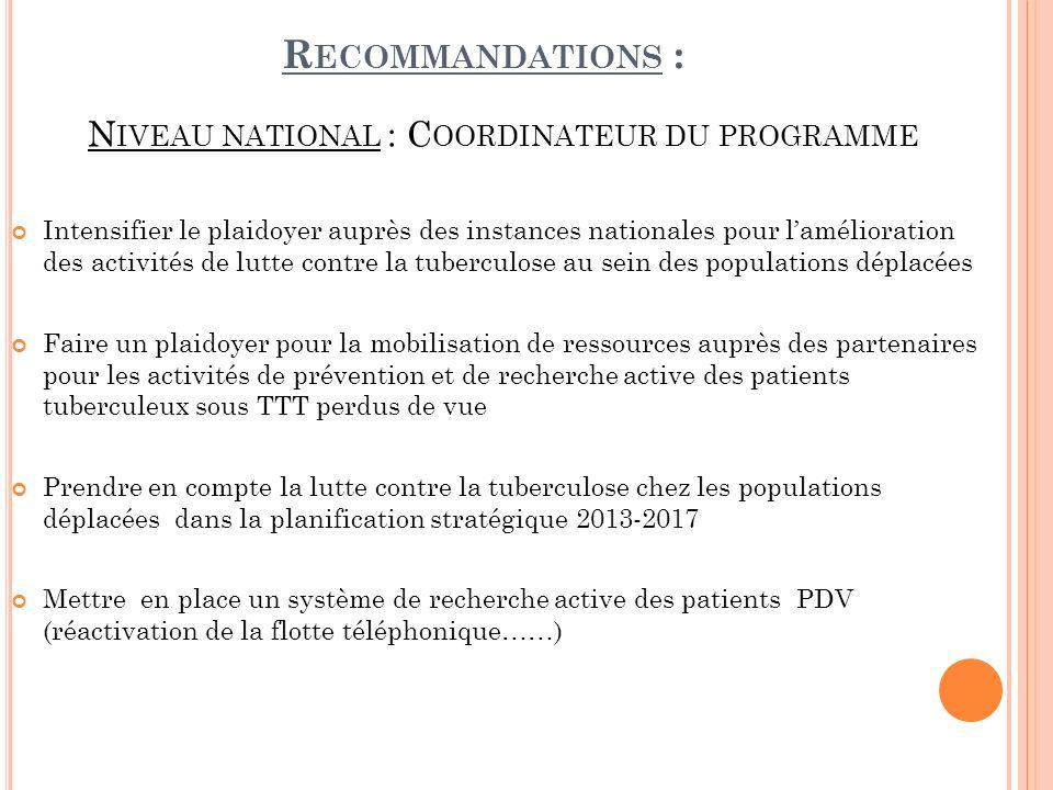 R ECOMMANDATIONS : N IVEAU NATIONAL : C OORDINATEUR DU PROGRAMME Intensifier le plaidoyer auprès des instances nationales pour lamélioration des activ