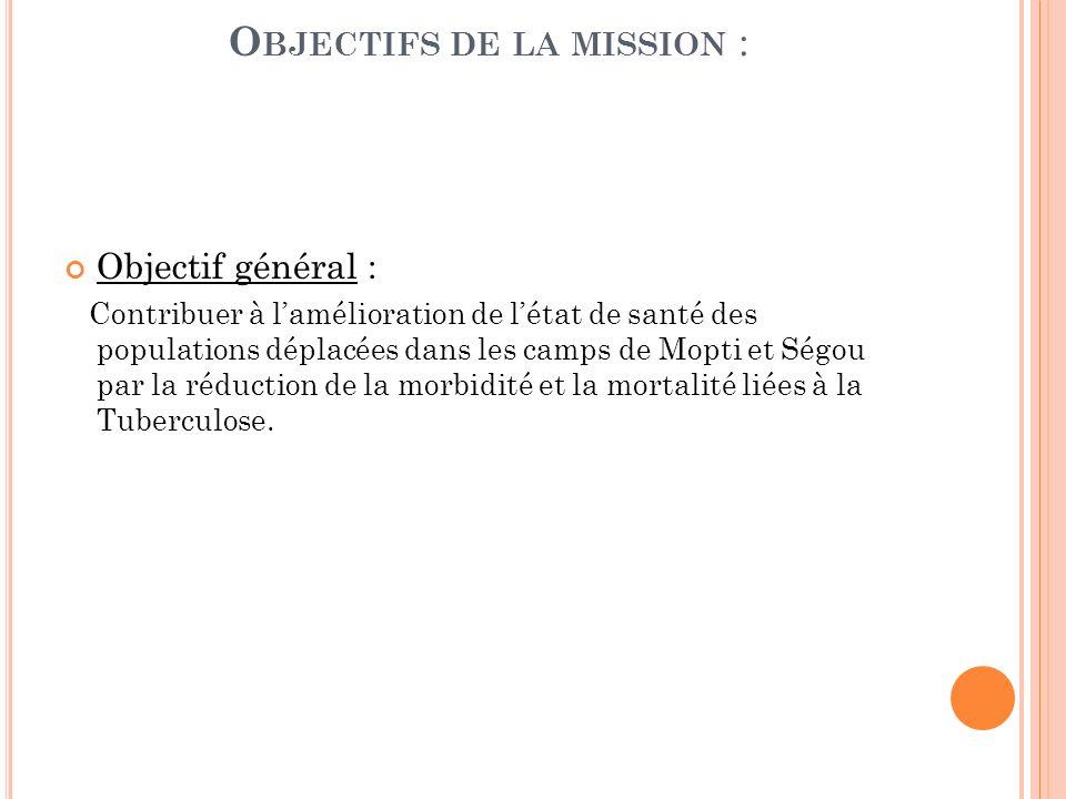 O BJECTIFS DE LA MISSION : Objectif général : Contribuer à lamélioration de létat de santé des populations déplacées dans les camps de Mopti et Ségou par la réduction de la morbidité et la mortalité liées à la Tuberculose.