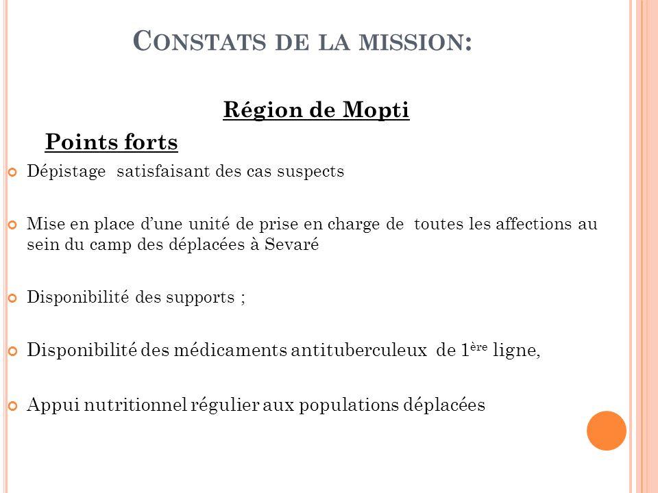 C ONSTATS DE LA MISSION : Région de Mopti Points forts Dépistage satisfaisant des cas suspects Mise en place dune unité de prise en charge de toutes l