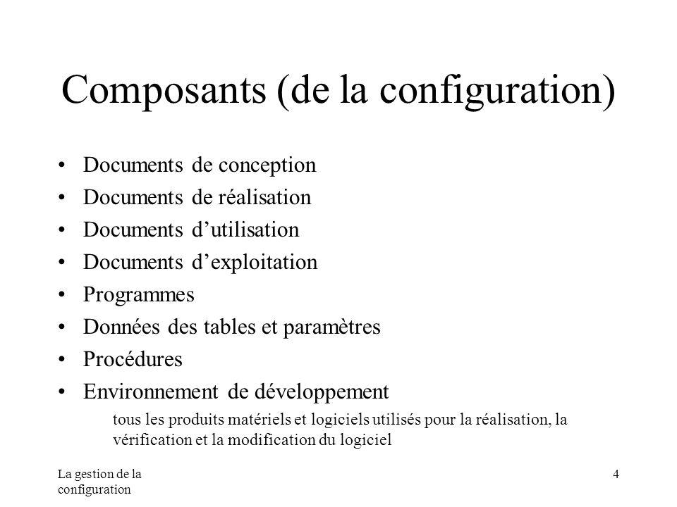 La gestion de la configuration 4 Composants (de la configuration) Documents de conception Documents de réalisation Documents dutilisation Documents de