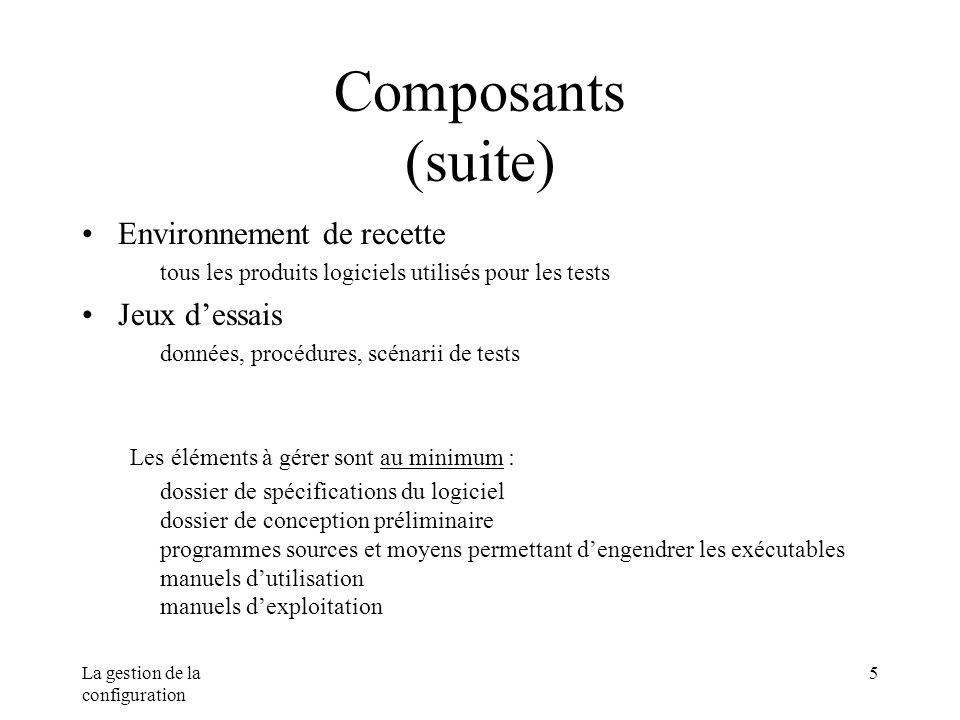 La gestion de la configuration 5 Composants (suite) Environnement de recette tous les produits logiciels utilisés pour les tests Jeux dessais données,