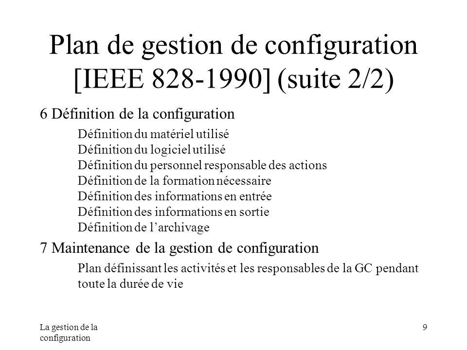 La gestion de la configuration 9 Plan de gestion de configuration [IEEE 828-1990] (suite 2/2) 6 Définition de la configuration Définition du matériel