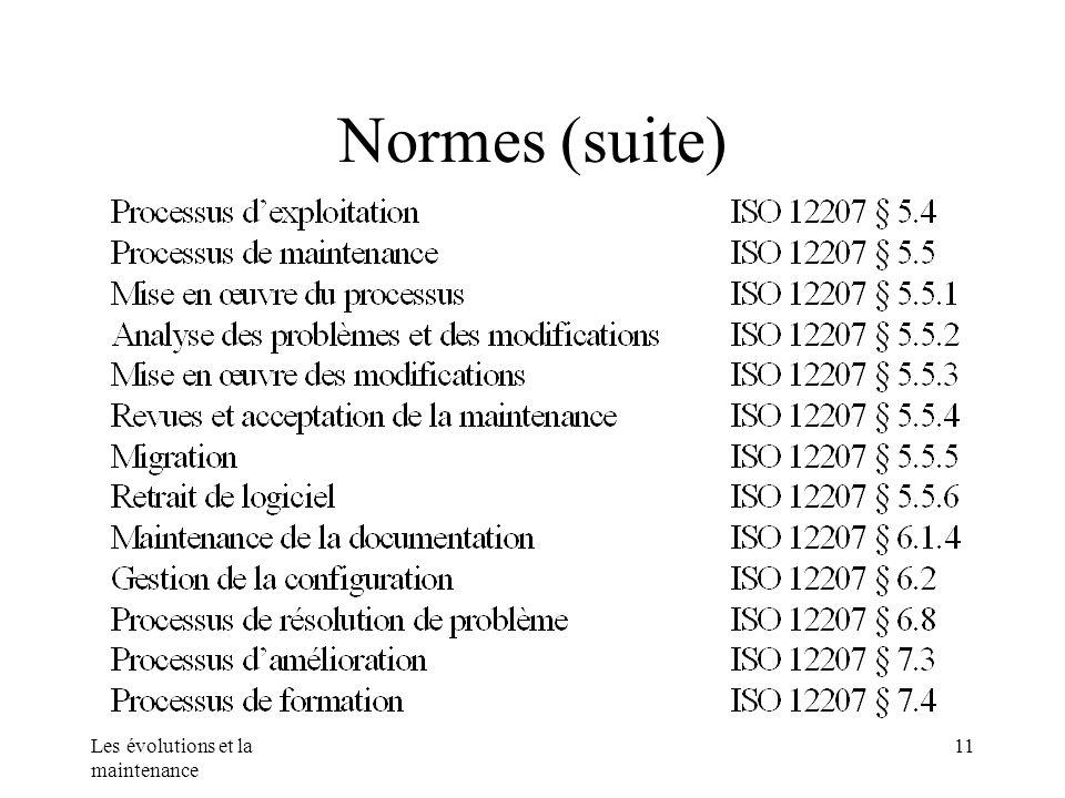 Les évolutions et la maintenance 11 Normes (suite)