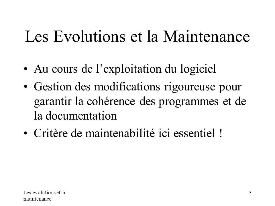 Les évolutions et la maintenance 3 Les Evolutions et la Maintenance Au cours de lexploitation du logiciel Gestion des modifications rigoureuse pour ga