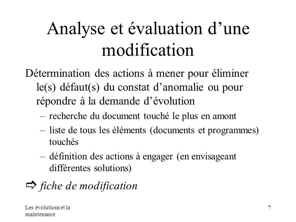 Les évolutions et la maintenance 7 Analyse et évaluation dune modification Détermination des actions à mener pour éliminer le(s) défaut(s) du constat