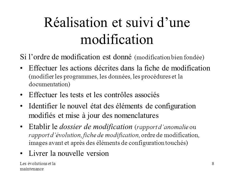Les évolutions et la maintenance 8 Réalisation et suivi dune modification Si lordre de modification est donné (modification bien fondée) Effectuer les
