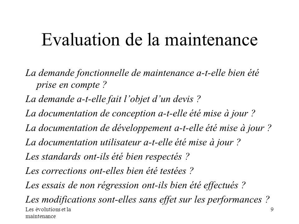 Les évolutions et la maintenance 9 Evaluation de la maintenance La demande fonctionnelle de maintenance a-t-elle bien été prise en compte ? La demande