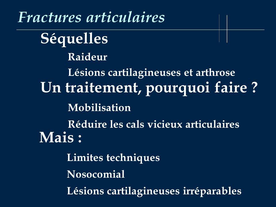 Fractures articulaires Séquelles Raideur Lésions cartilagineuses et arthrose Un traitement, pourquoi faire ? Mobilisation Réduire les cals vicieux art