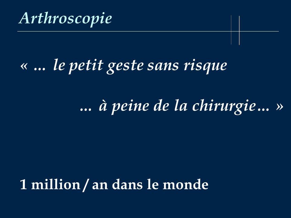 Arthroscopie « … le petit geste sans risque … à peine de la chirurgie… » 1 million / an dans le monde