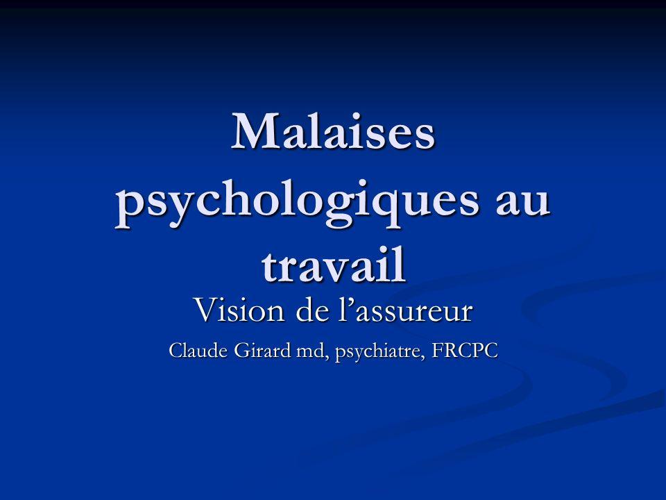 Malaises psychologiques au travail Vision de lassureur Claude Girard md, psychiatre, FRCPC