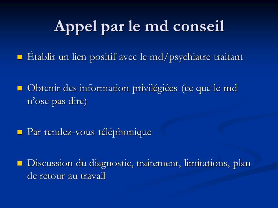 Appel par le md conseil Établir un lien positif avec le md/psychiatre traitant Établir un lien positif avec le md/psychiatre traitant Obtenir des info