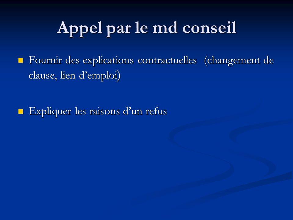 Appel par le md conseil Fournir des explications contractuelles (changement de clause, lien demploi ) Fournir des explications contractuelles (changem