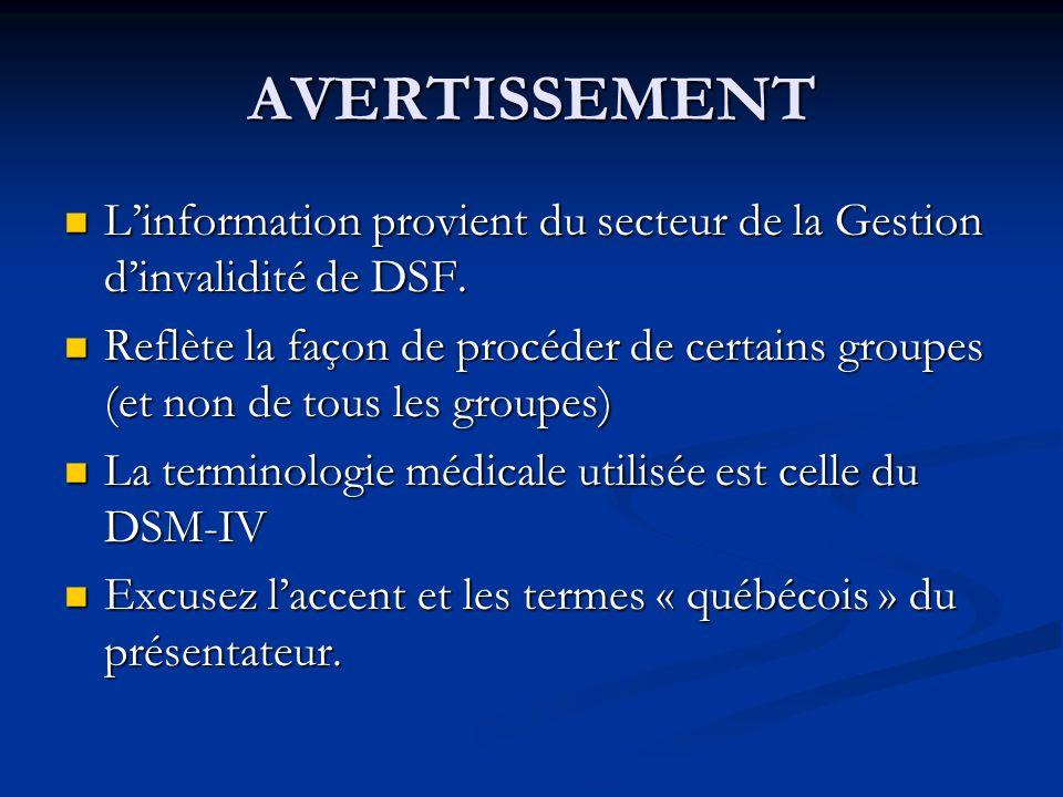 AVERTISSEMENT Linformation provient du secteur de la Gestion dinvalidité de DSF. Linformation provient du secteur de la Gestion dinvalidité de DSF. Re