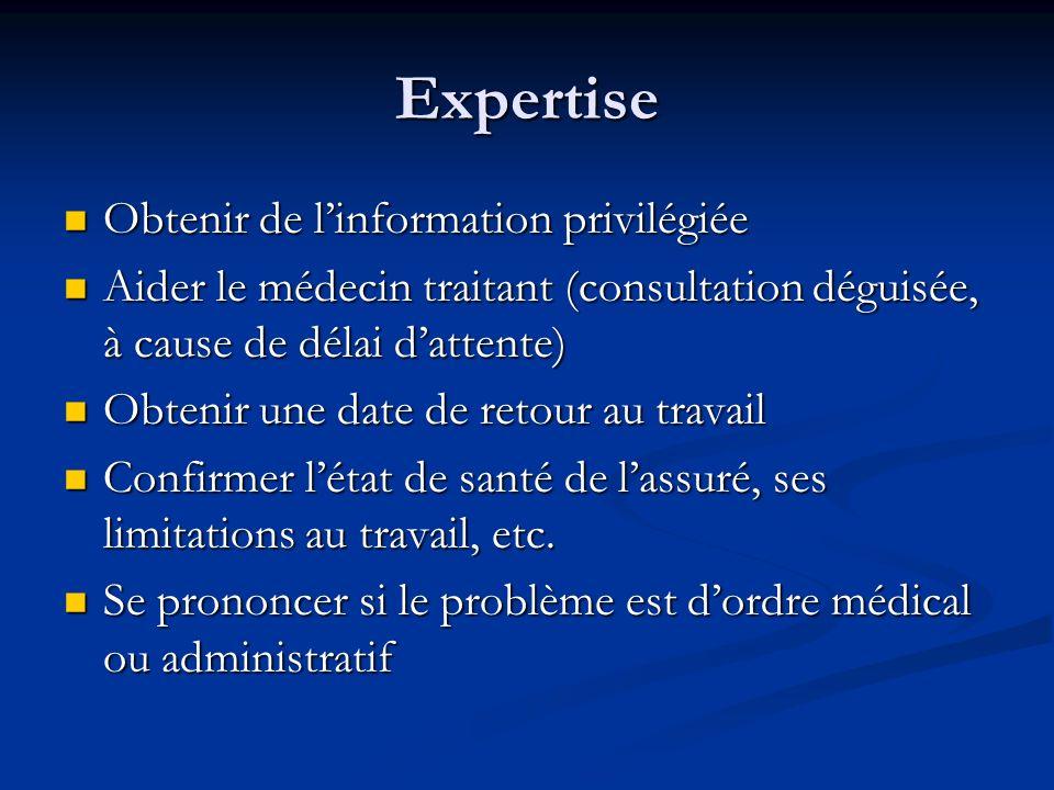 Expertise Obtenir de linformation privilégiée Obtenir de linformation privilégiée Aider le médecin traitant (consultation déguisée, à cause de délai d