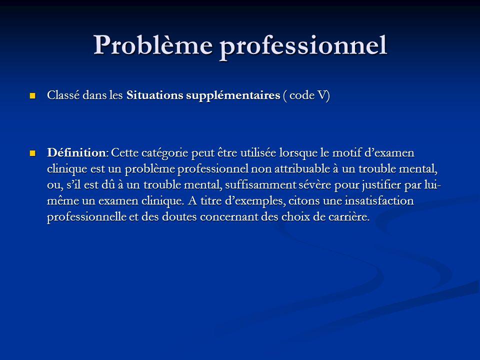 Problème professionnel Classé dans les Situations supplémentaires ( code V) Classé dans les Situations supplémentaires ( code V) Définition: Cette cat