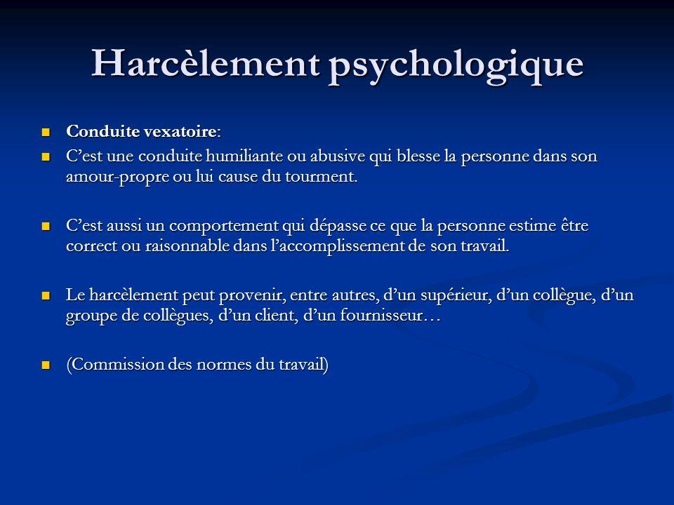 Harcèlement psychologique Conduite vexatoire: Conduite vexatoire: Cest une conduite humiliante ou abusive qui blesse la personne dans son amour-propre