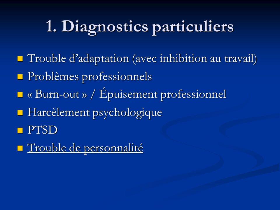 1. Diagnostics particuliers Trouble dadaptation (avec inhibition au travail) Trouble dadaptation (avec inhibition au travail) Problèmes professionnels