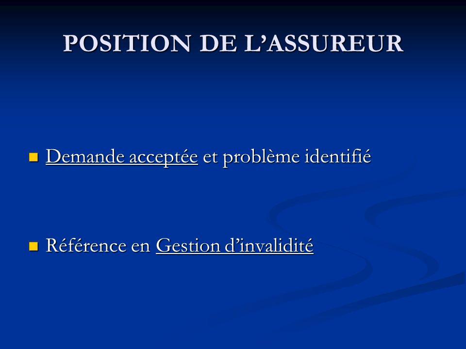 POSITION DE LASSUREUR Demande acceptée et problème identifié Demande acceptée et problème identifié Référence en Gestion dinvalidité Référence en Gest