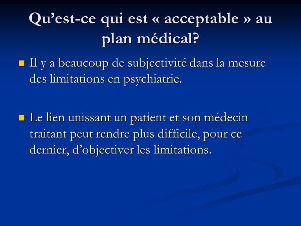 Quest-ce qui est « acceptable » au plan médical? Il y a beaucoup de subjectivité dans la mesure des limitations en psychiatrie. Il y a beaucoup de sub